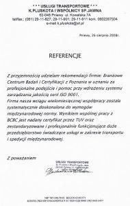 2008.08.26 - Usługi Transportowe J.Pluskota i Wspólnicy