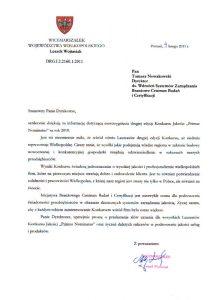 2011.02.11 Referencja od Marszałka województwa Wielkopolskiego